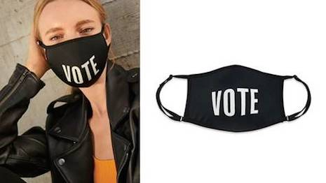 Bloomingdale's new Vote face mask, produced in conjunction with WarnerMedia and director Allen Hughes, is intended to encourage U.S. citizens to vote in the upcoming state and general elections. Image courtesy of Bloomindale's