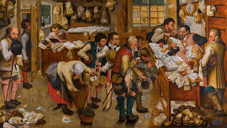 Pieter Brueghel the Younger's humorous take on the authority and practice of the law, one of the artist's most popular works, which is as one of the largest versions known to exist comes to the market. Image credit: Sotheby's