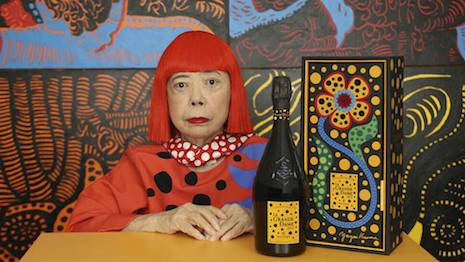 Yayoi Kusama was commissioned to create her signature polka-dotted colorful art to emblazon the packaging and label for Veuve Clicquot's new La Grande Dame 2012 vintage. Image courtesy of Veuve Clicquot