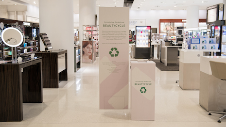 Nordstrom is the first major U.S. retailer to offer a recycling program for all brands of hard-to-recycle beauty packaging in partnership with global recycling leader TerraCycle. Image courtesy of Nordstrom
