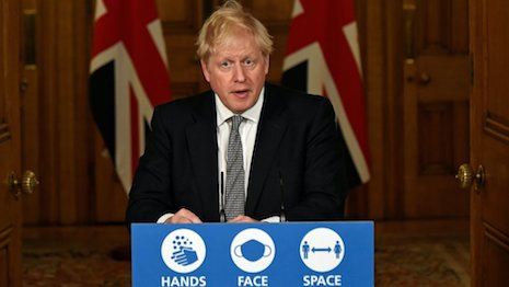 Boris Johnson, prime minister of the United Kingdom, announcing the second lockdown in England that mirrors similar restrictions in Scotland, Wales and Northern Ireland to stem the spread of the COVID-19 coronavirus. Image credit: 10 Downing Street