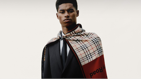 Fashion giant Burberry has partnered with British footballer (soccer player) Marcus Rashford to support U.K. youth organizations and charities globally. Image credit: Burberry