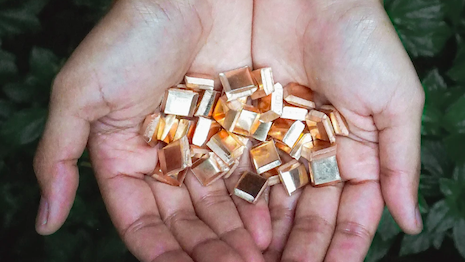 Cupped hands holding impact gold, a full traceable gold artisanally mined in Peru by PX Impact, which created a sustainable, transparent supply chain that meets global standards for responsible practices through guaranteeing. Image credit: B.P. De Silva